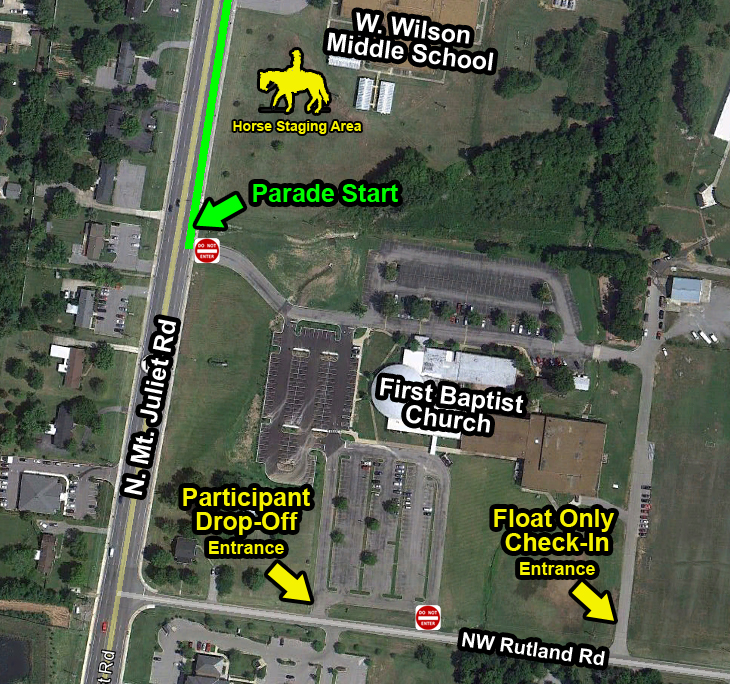 Overview of the parade staging and participant drop-off area at First Baptist Church