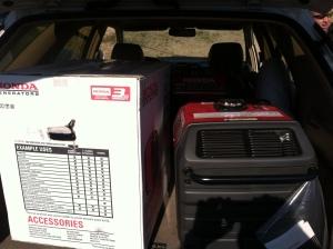Stolen Honda generators in the back of Quintanilla's vehicle.