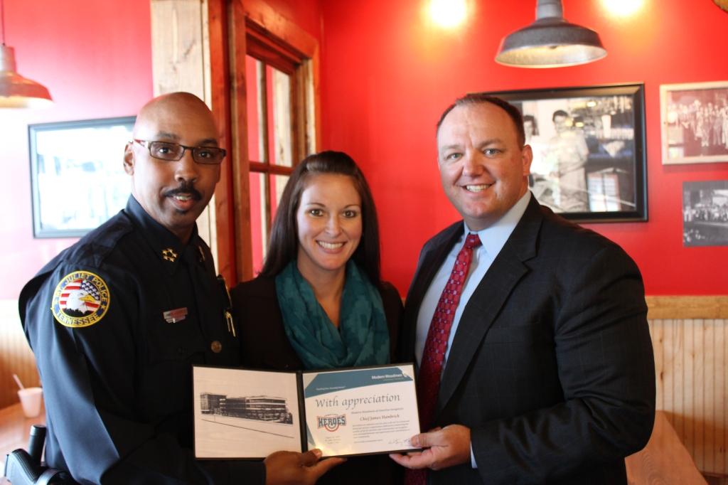 Police Chief James Hambrick, Jennifer Steakin, & Josh Conner
