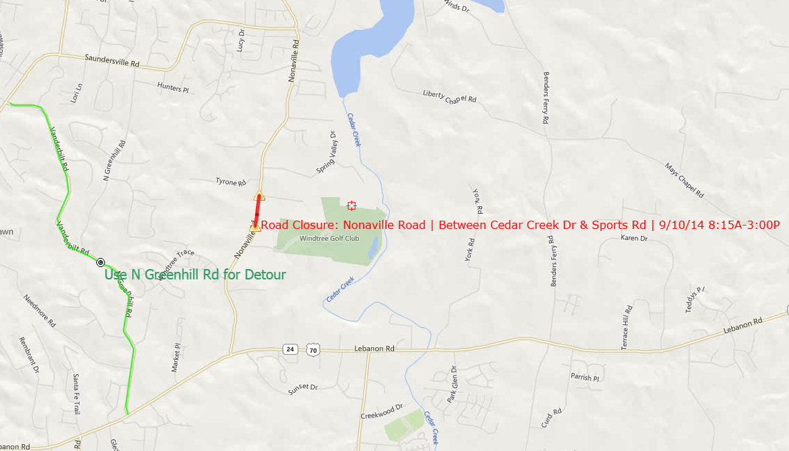 Closure Location & Detour Route