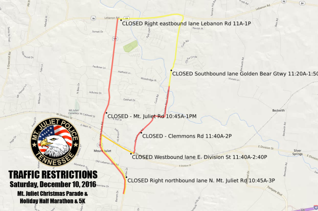 Overview of Traffic Restrictions for Parade & Marathon on 12/10/16